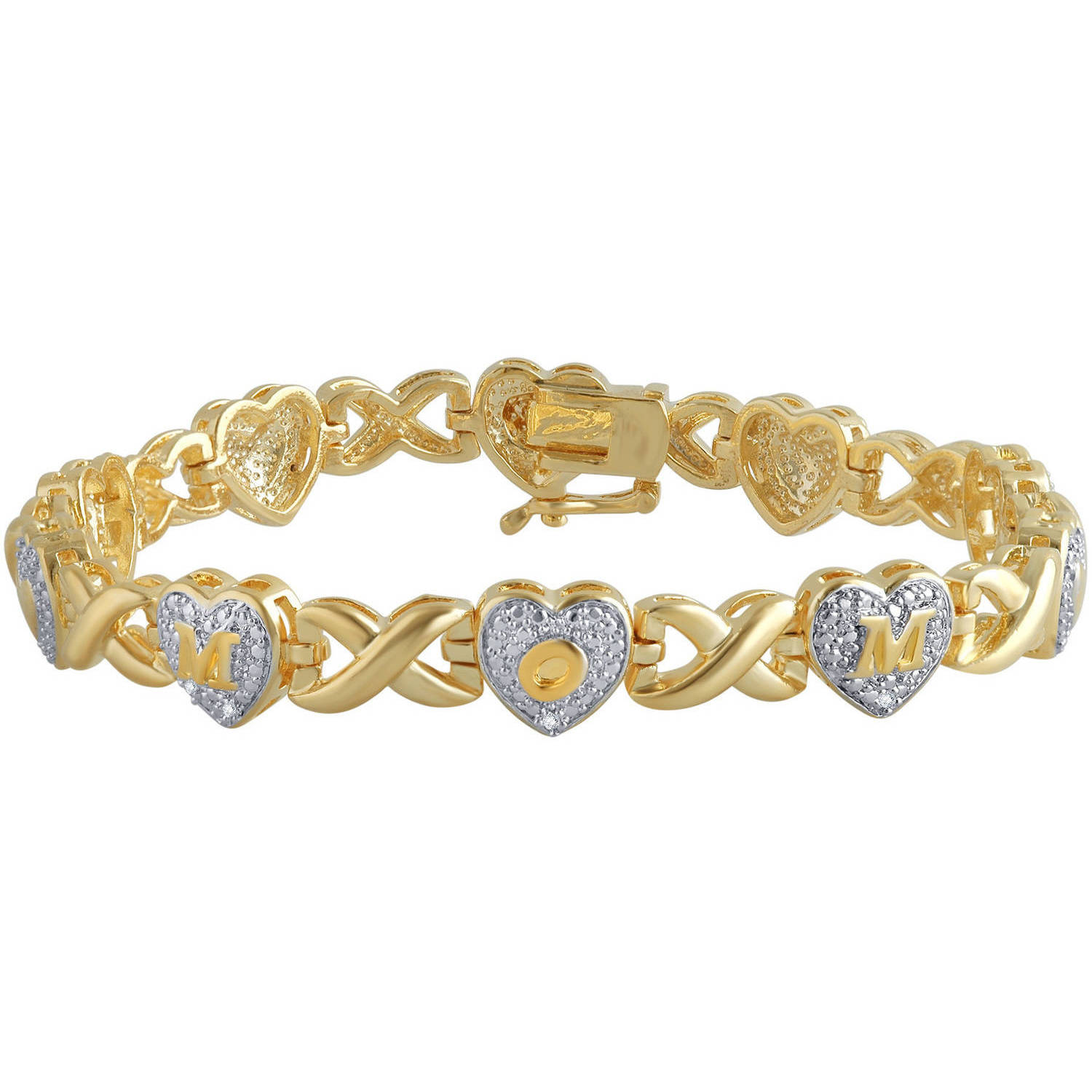 Diamond Accent 14K Yellow Gold Plated Brass Mom Heart Infinity Bracelet,7.5""