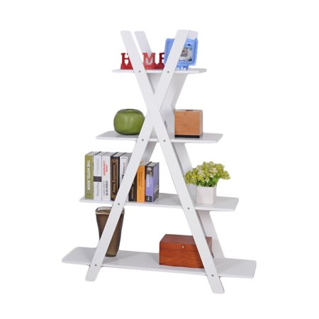 Mdf Office Bookcase (4-Tier X Shape Bookshelf Shelves Ladder Home Office Bookcase MDF Wood Display Bookrack,White)