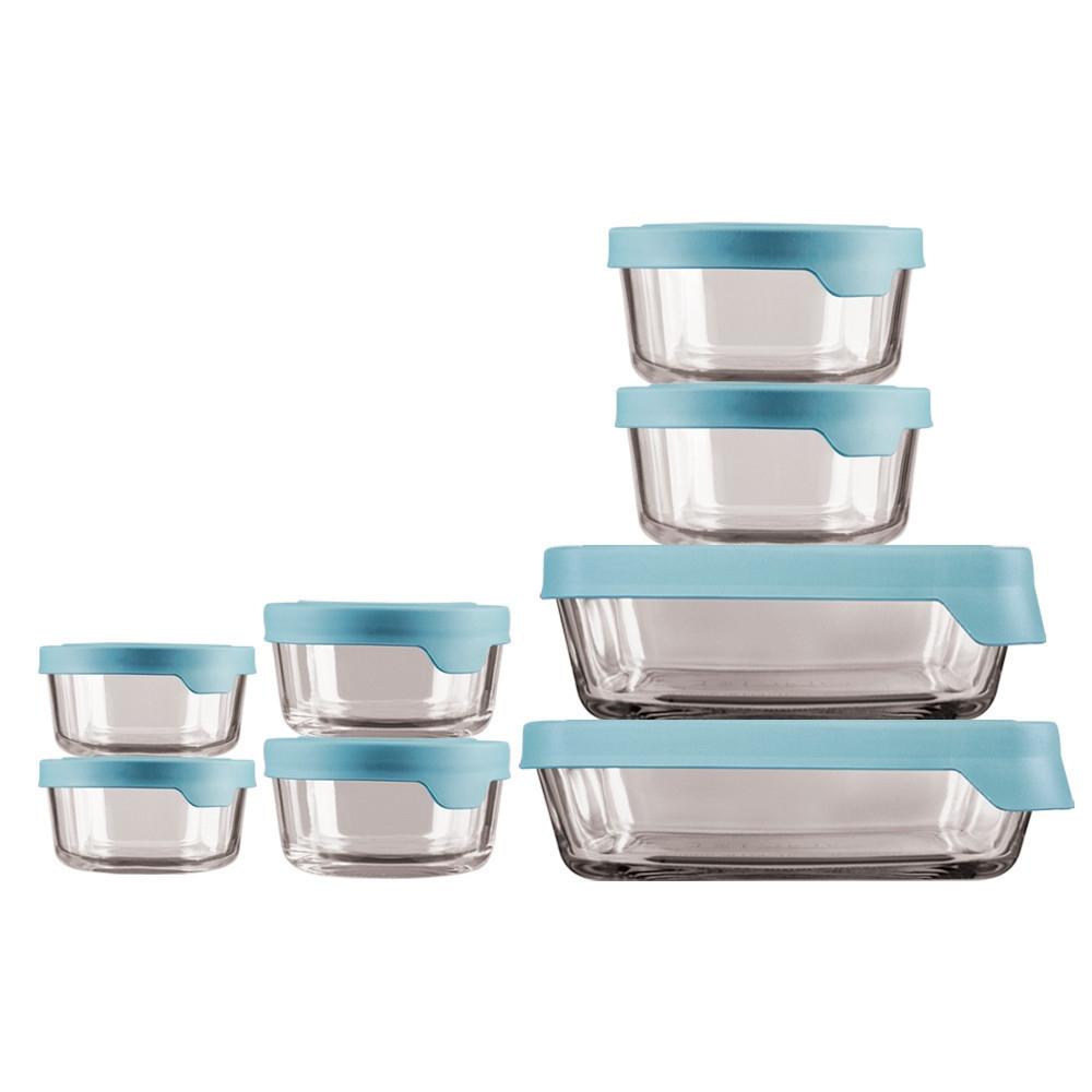 ANCHOR HOCKING TrueSeal Glass Food Storage Set of 2 Mineral Blue Lids 4 Cups