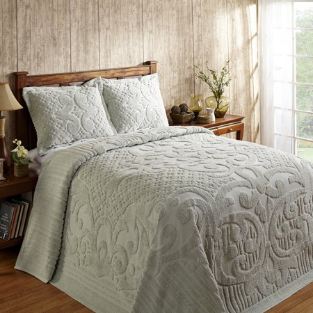 Better Trends Ashton Collection in Medallion Design 100% Cotton Tufted Chenille, Queen Bedspread, Sage