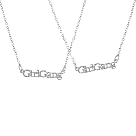 Lux Accessories Silvertone Girl Gang Best Friends BFF Nameplate Necklace Set