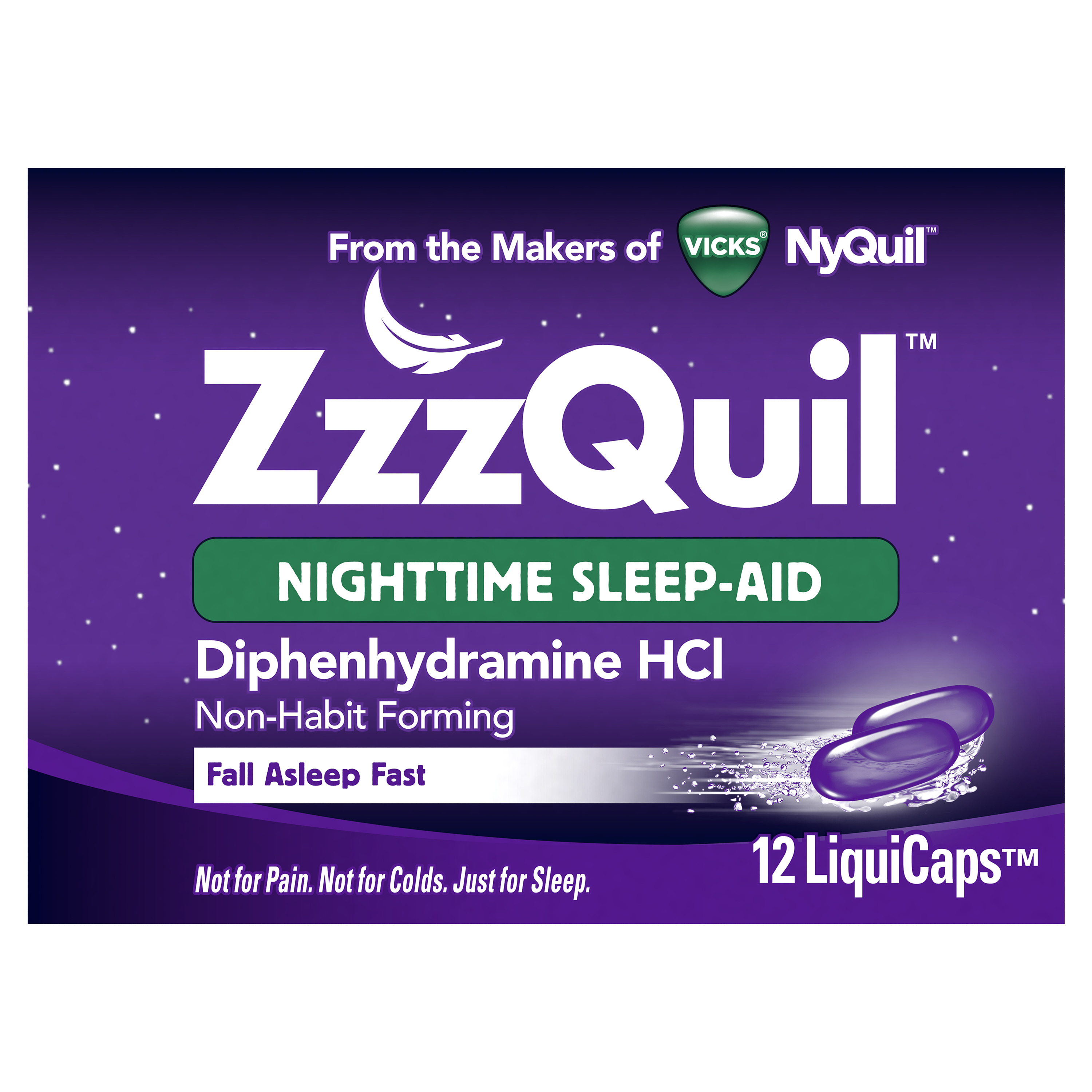 Vicks ZzzQuil Nighttime Sleep Aid, Non-Habit Forming, Fall Asleep Fast and Wake Refreshed, 12 Count LiquiCaps