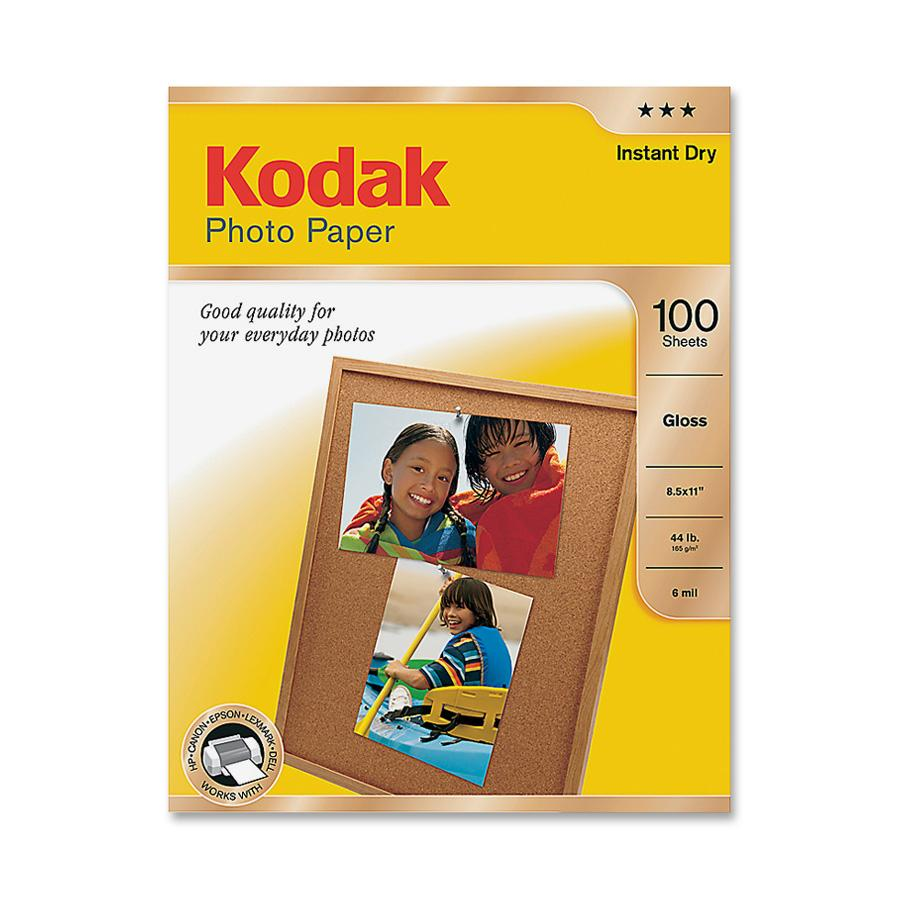 Kodak, KOD8209017, Basic Glossy 6.5 mil Photo Paper, 100 / Pack, White