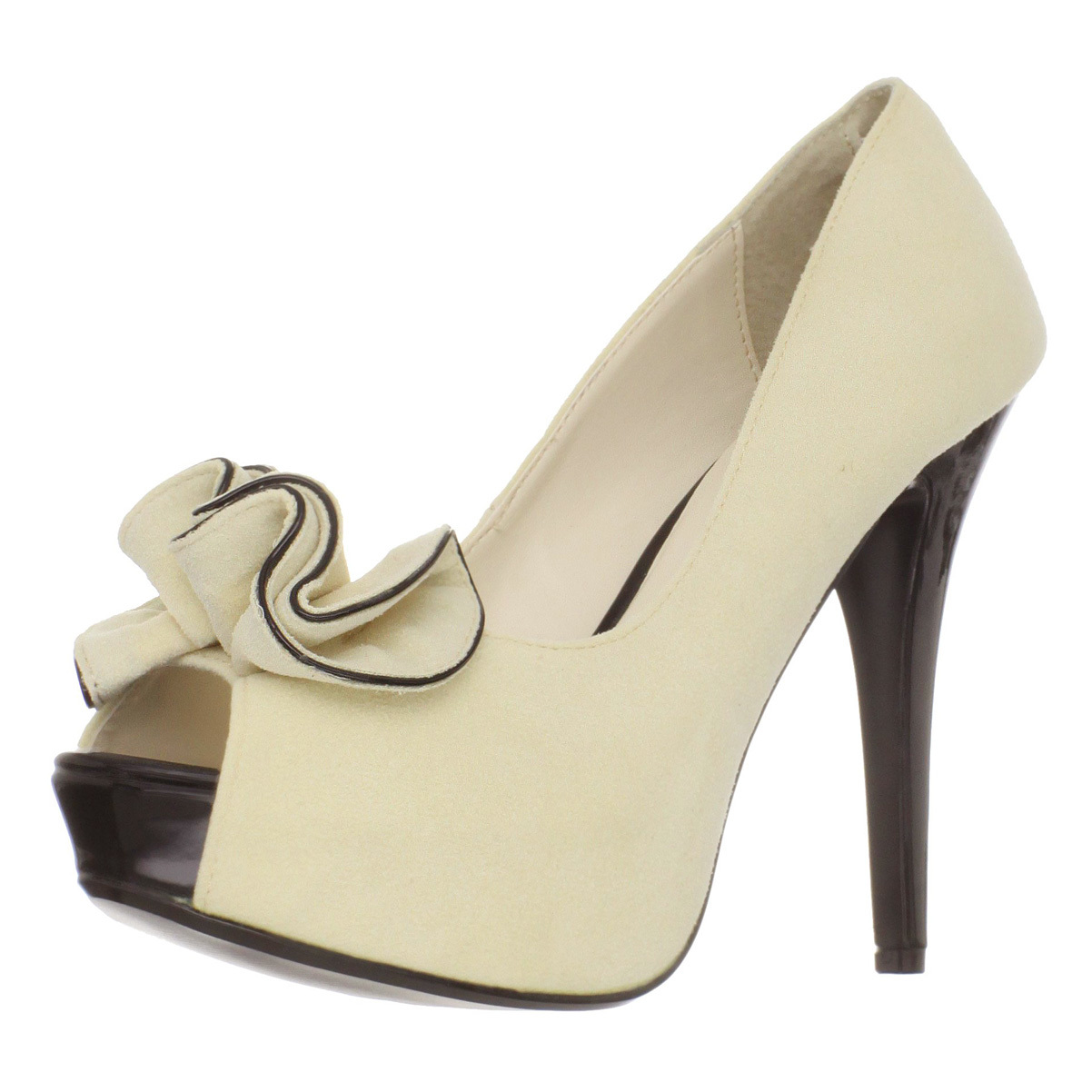 Womens Cream Pumps Ruffle Peep Toe Shoes 5 Inch Heels Cla...