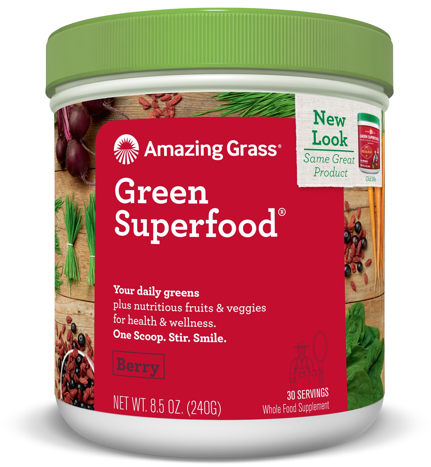 Amazing Grass Green Superfood Powder, Berry, 30 Servings