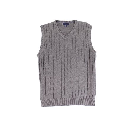 Club Room New Gray Mens Size Large L Cable Knit V Neck Sweater Vest