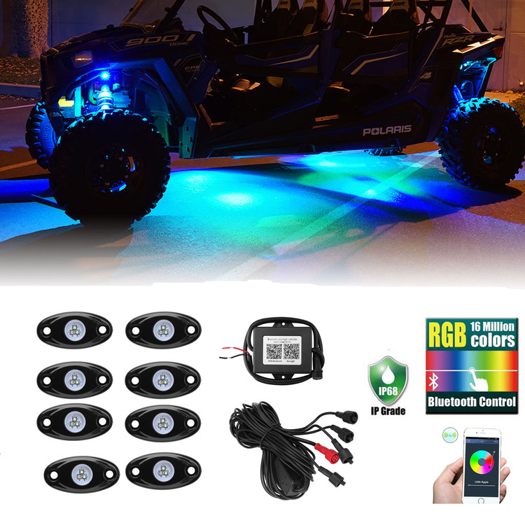 8PCS RGB LED Rock Lights Wireless Bluetooth Music Flashing Multi Color Offroad Light For Car Jeep