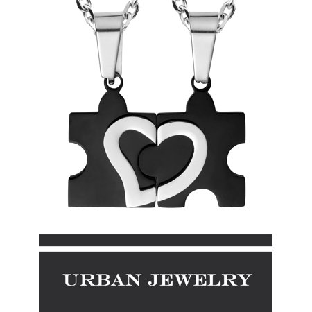 """Stunning His & Hers Puzzle Heart Matching Couples Pendant Necklace Set with 19"""" & 21"""
