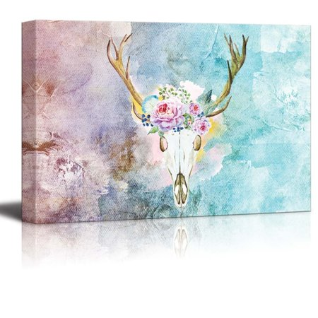 wall26 Painting of a Deer Skull with a Crown of Flowers on a Water Color Background - Canvas Art Home Decor - 12x18 (Deer Painting)