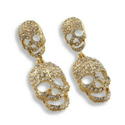 Rhinestone Encrusted Goldtone Dangling Skull Post Earrings