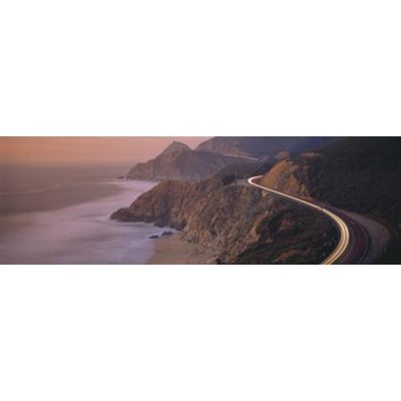 Ca Panoramic Map - Dusk Highway 1 Pacific Coast CA USA Canvas Art - Panoramic Images (18 x 6)