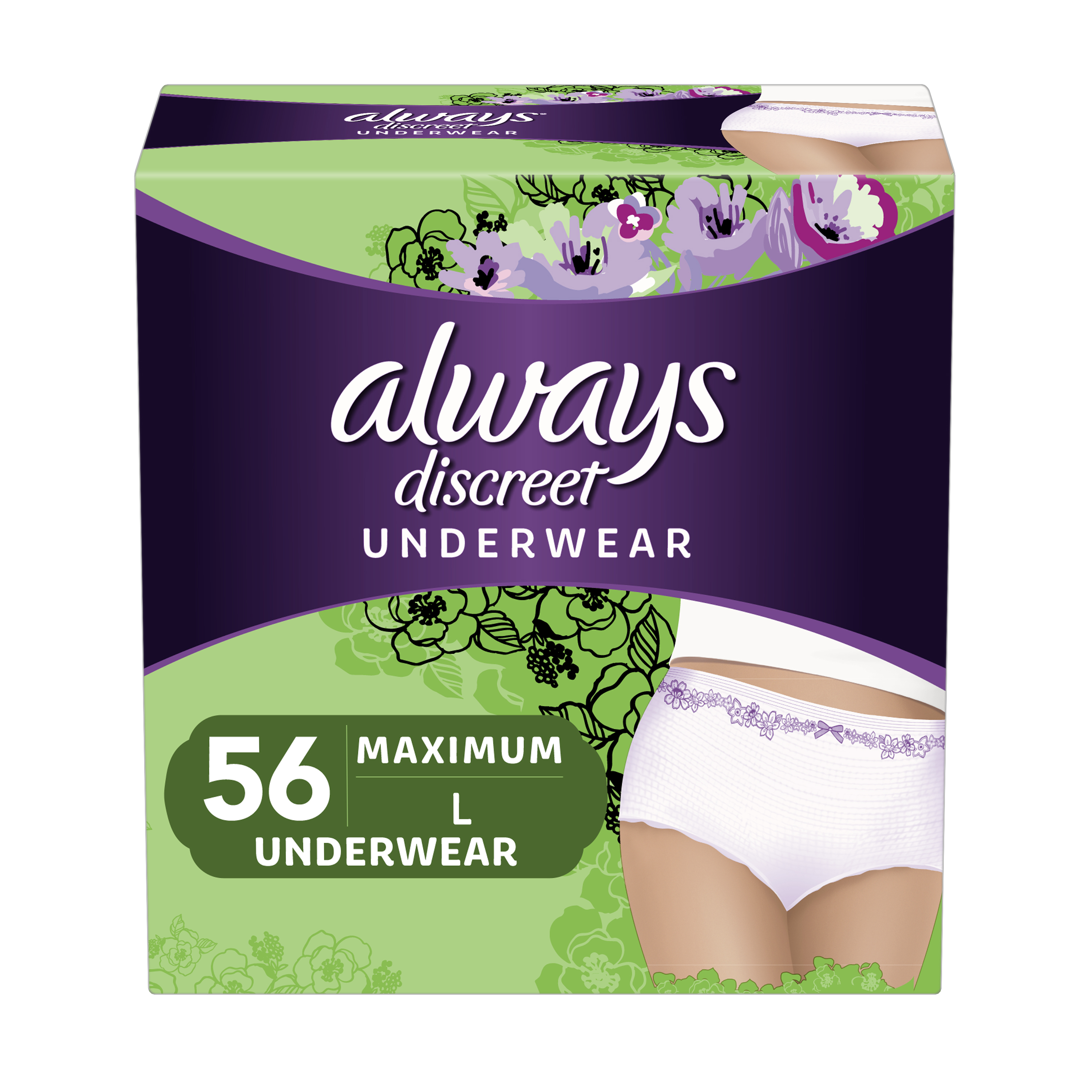 Always Discreet, Incontinence Underwear for Women, Maximum, Large, 56 Count