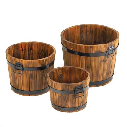 Home Locomotion Country Barrel Planters Set