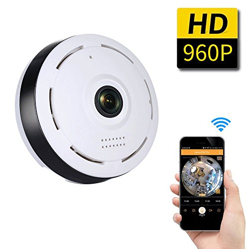 SDETER 960P WiFi Wireless HD 360 Degree Fisheye IP Network Camera, Plug/Play, Day/Night Vision Home Surveillance, Two-Way Audio, SD Card Slot, Alarm