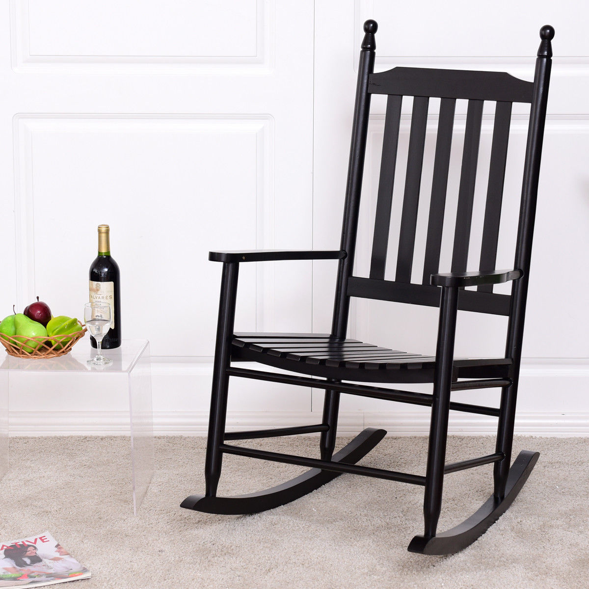 Gymax Wooden Rocking Chair Porch Rocker Armchair Balcony Deck Garden Furniture Black by Gymax