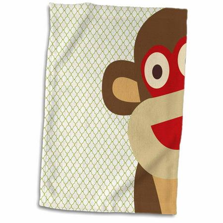 3dRose Sock Monkey Peeking Around Corner - Cute Animal Art - Towel, 15 by 22-inch