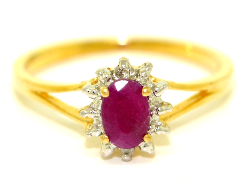 July Birthstone Ring Ruby in 14K Yellow Gold or 14K White Gold by Elie Int.