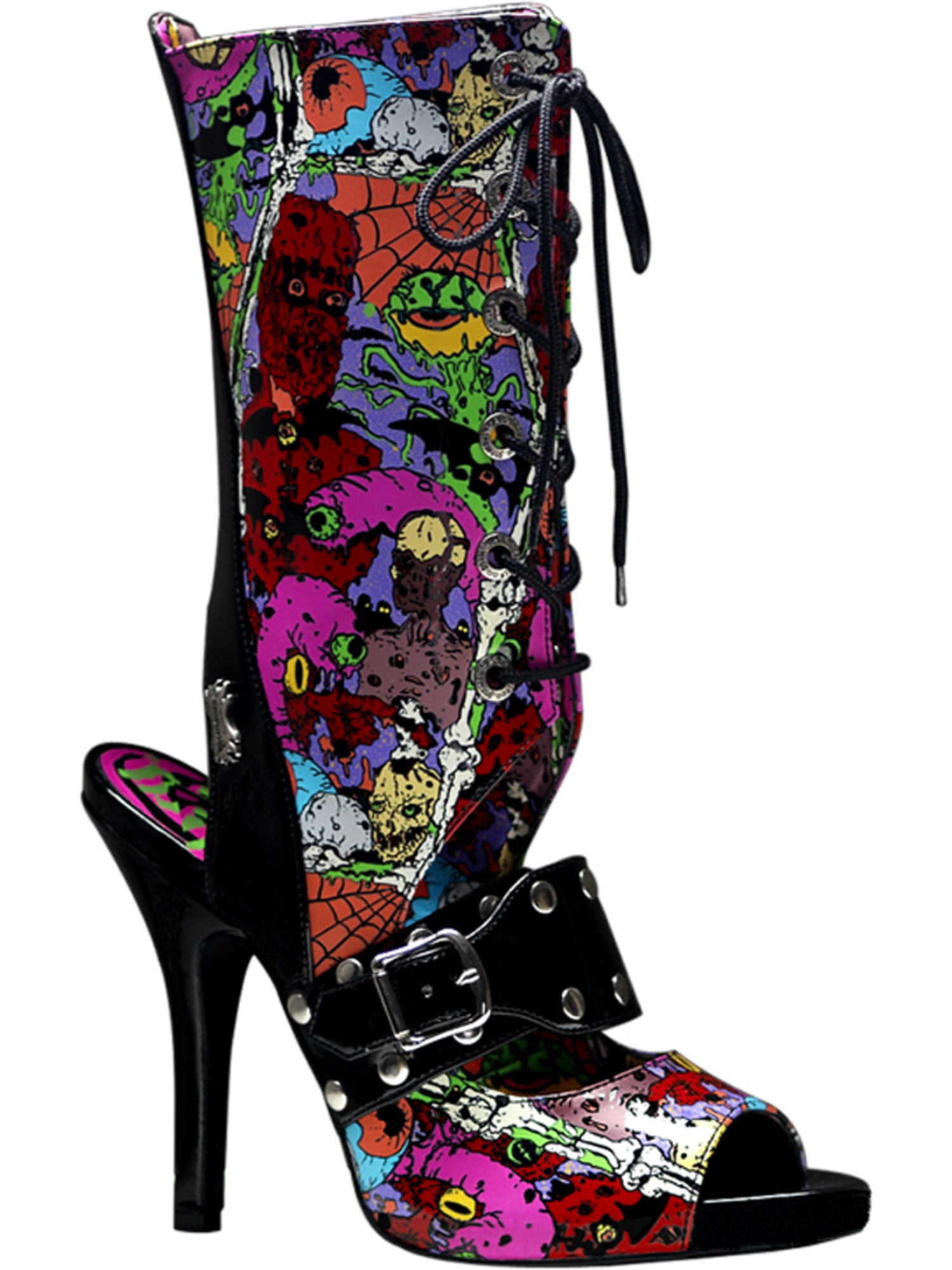 Womens Zombie Screen Print Boots 4 1/2 Inch Heel Lace Up Open Heel Colorful Fun