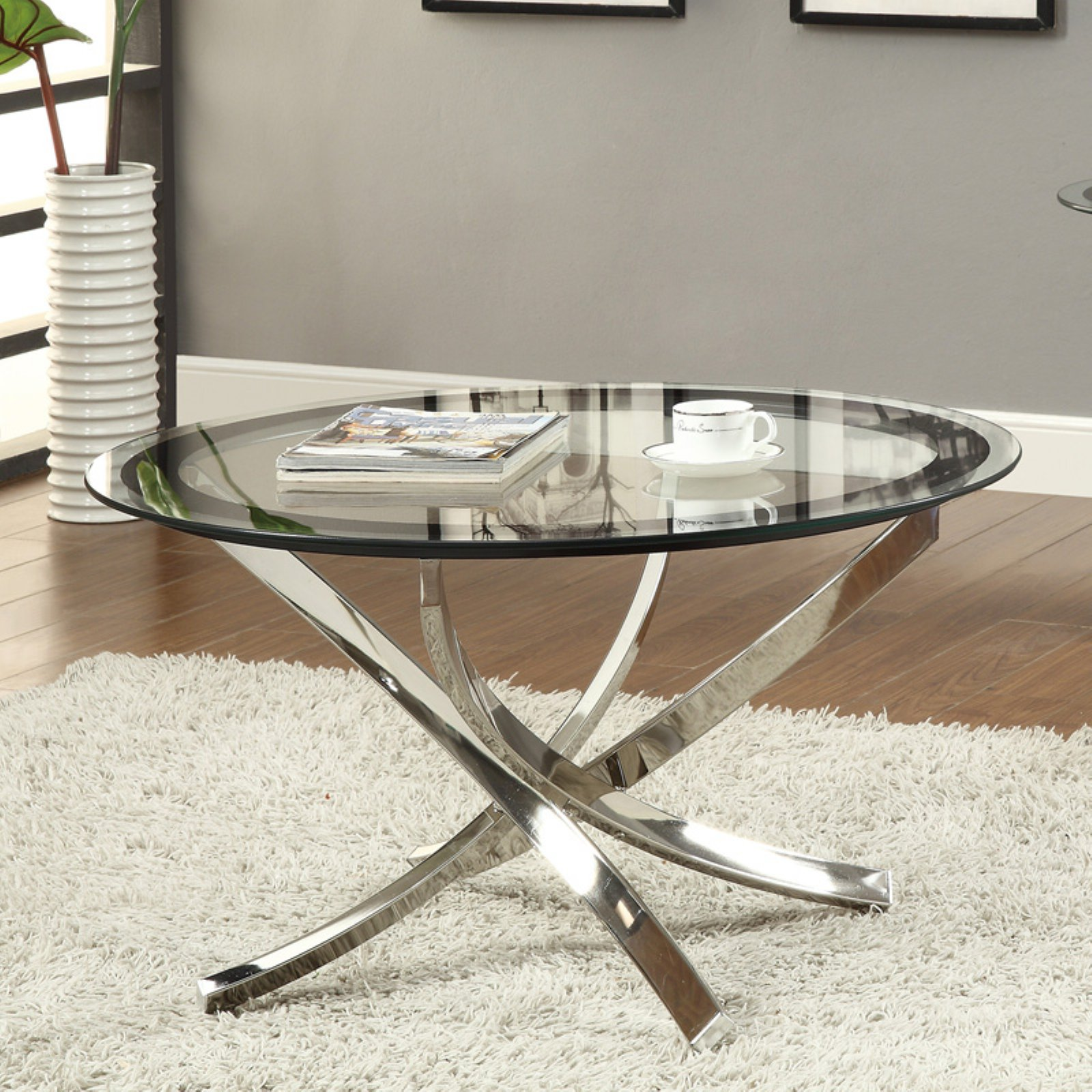 Coaster Furniture Glass Top Round Coffee Table by Coaster