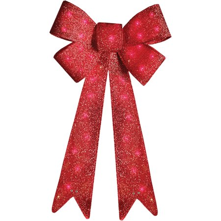 holiday time christmas decor 36 indoor outdoor lighted red tinsel bow