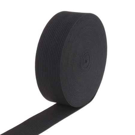 1-inch By 10 Yards Black Knit Heavy Stretch High Elasticity Elastic Band, 1-inch wide black high Eeasticity Eeastic band By Usew Elastic Rear Band