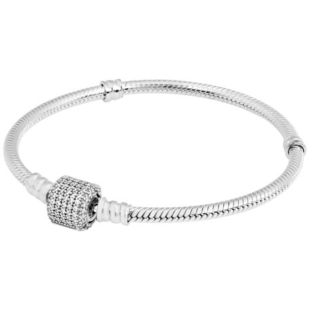 Sterling Silver w/ Signature Clasp, Clear CZ Bracelet 19 cm (Style Sterling Silver Clasp)