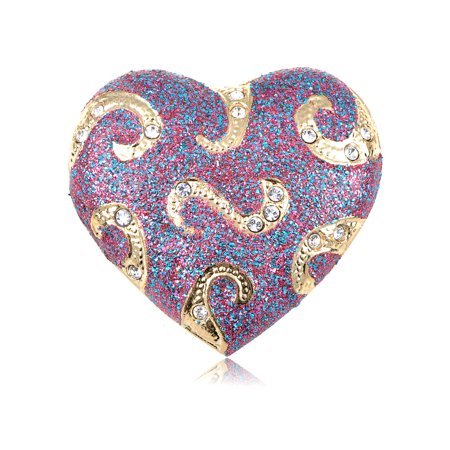 Crystal Elements Glitter Swirl Hold On My Heart Fashion Pin Brooch
