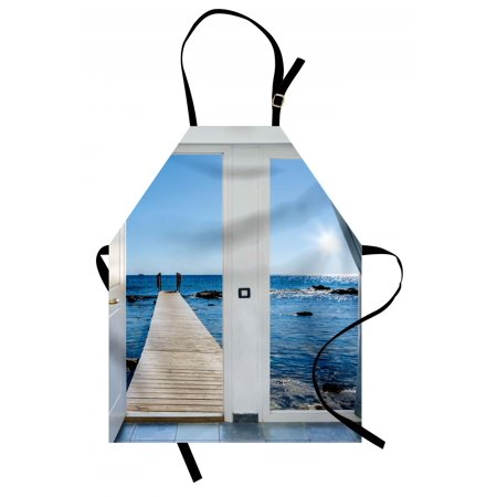 Beach Apron Coastal Theme with the Ocean Sea Sunny Day Scenery with Patio from Window, Unisex Kitchen Bib Apron with Adjustable Neck for Cooking Baking Gardening, Pale Blue and White, by Ambesonne ()