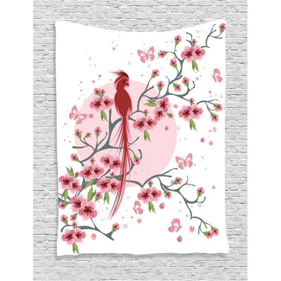 Japanese Decor Tapestry, Mythical Legendary Long-Lived Phoenix Bird ...