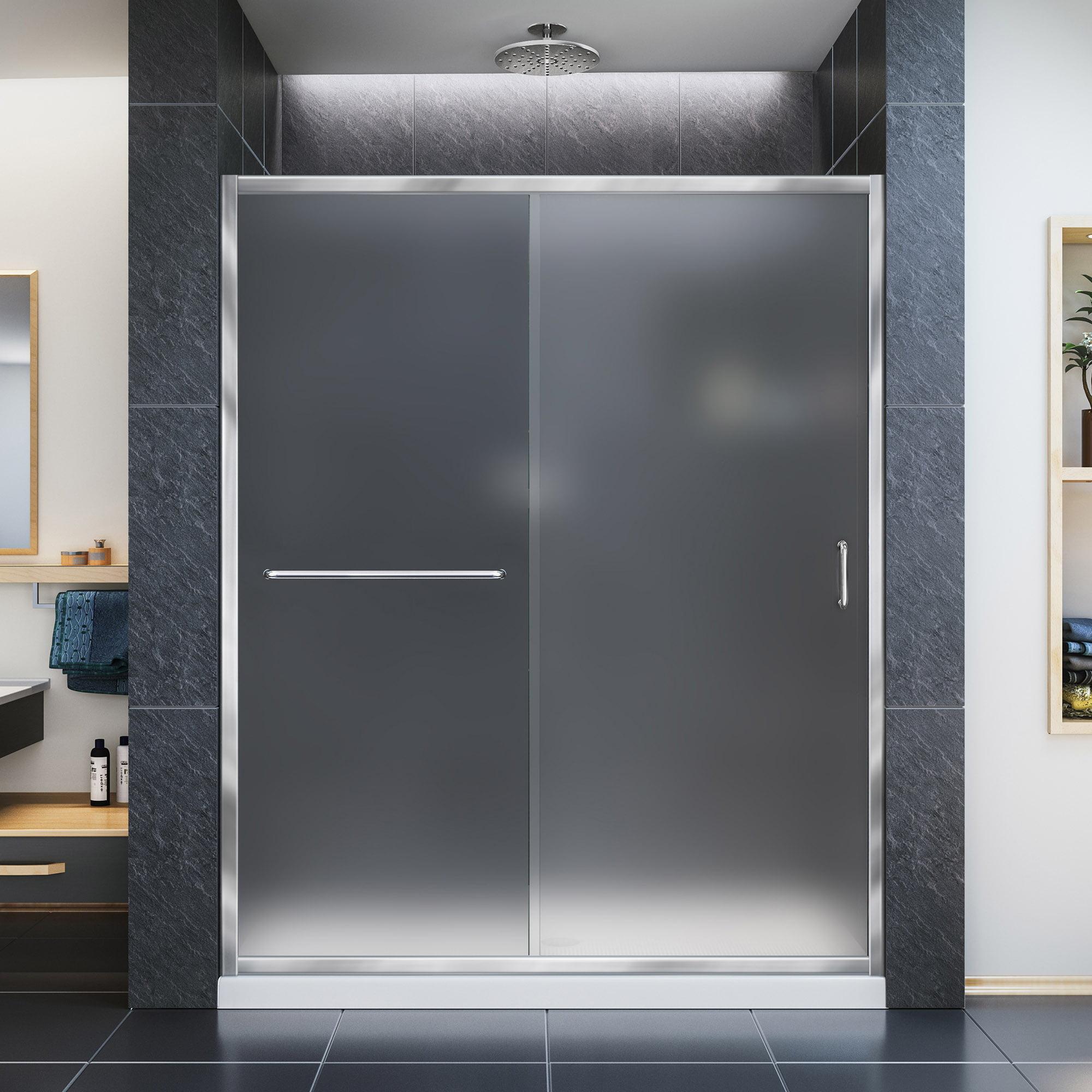 DreamLine Infinity-Z 50-54 in. W x 72 in. H Semi-Frameless Sliding Shower Door, Frosted Glass in Chrome