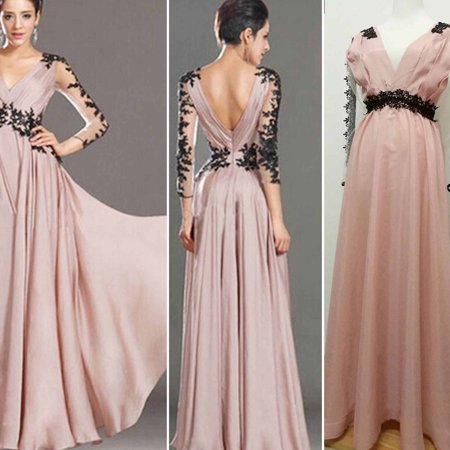 9ec5f8932a6 Dosmart - Women v-neck long sleeve Formal Bridesmaid Ball Prom Gown ...