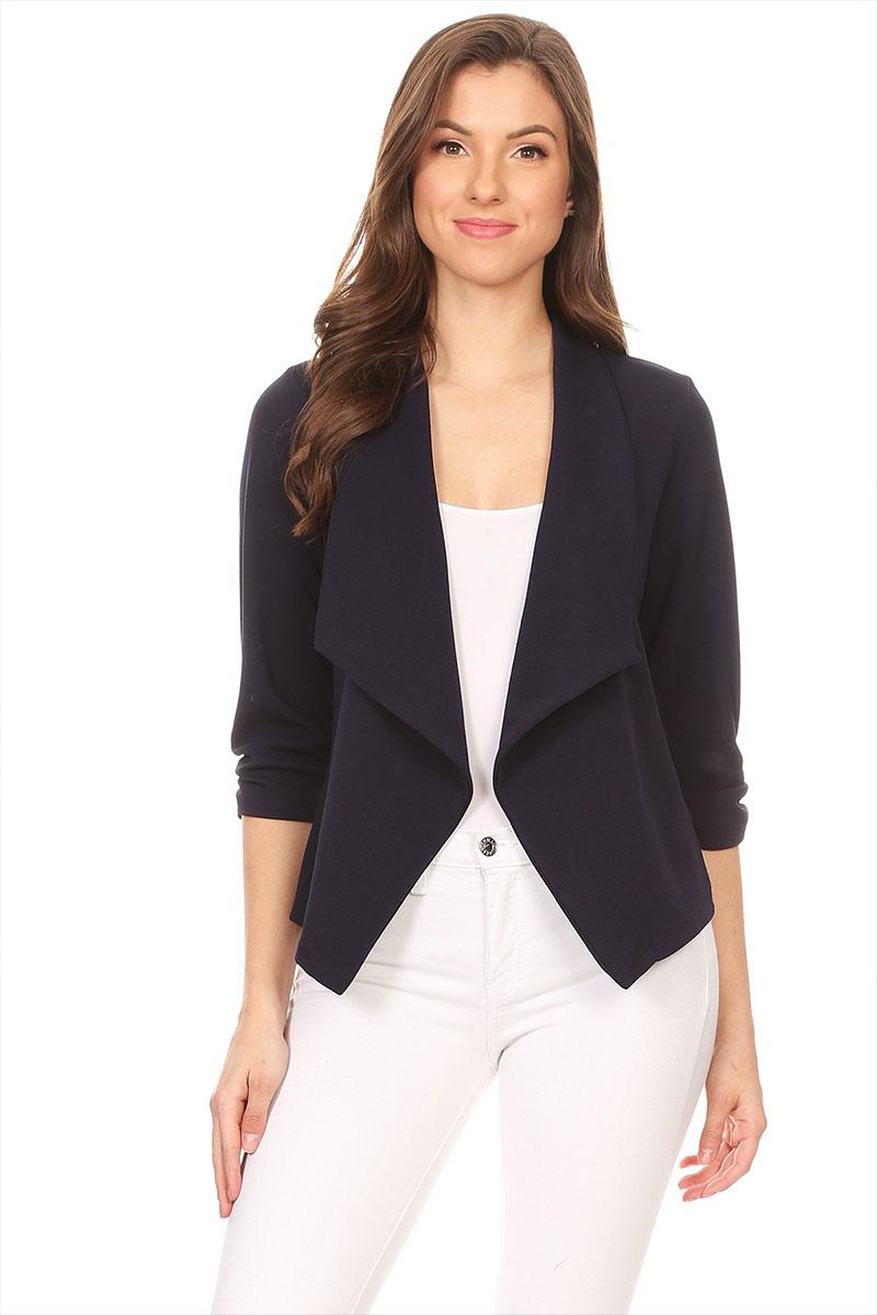 Women's Trendy Style 3/4 Sleeves Solid Open Jacket