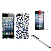Insten Colorful Leopard Hard Snap On Cover Case For iPhone 5S 5 5th+LCD Film+Pen (3-in-1 Accessory Bundle)