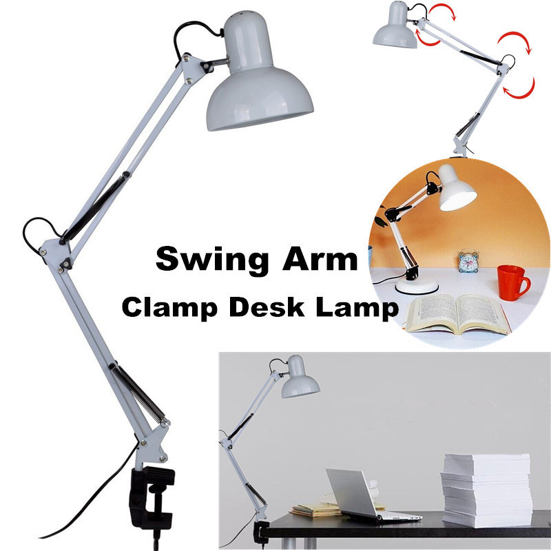 Adjustable Swing Arm Drafting Clip Lamp Design Office Studio Clamp Table Desk Light Lamp with Switch by