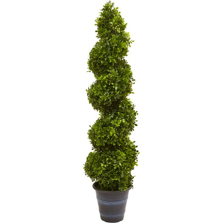 Nearly Natural Boxwood Spiral Topiary with Planter, Indoor/Outdoor ()