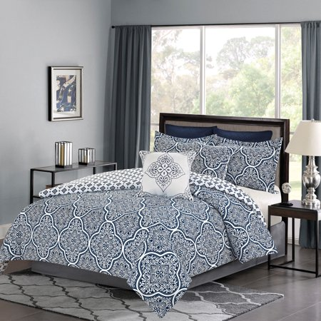 Bedding Comforter 7 Piece King Size Bed Set Navy Blue And White Medallion