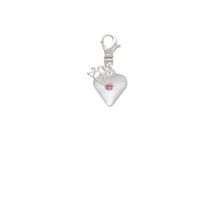 Silvertone Large Light Pink Crystal Heart - 2019 Clip on Charm