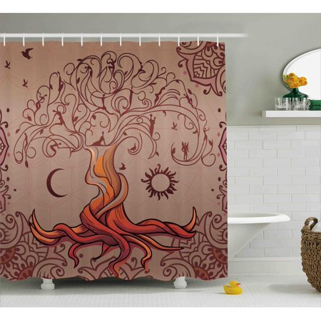 Indian Shower Curtain, Vintage Tree of Life with Sun and Moon Elf on ...