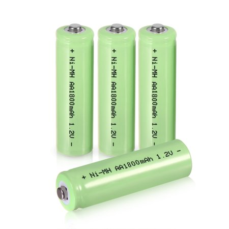 4Pcs 1.2V 1800mAh Tip Head Rechargeable AA Ni-MH Battery Green for Home Use