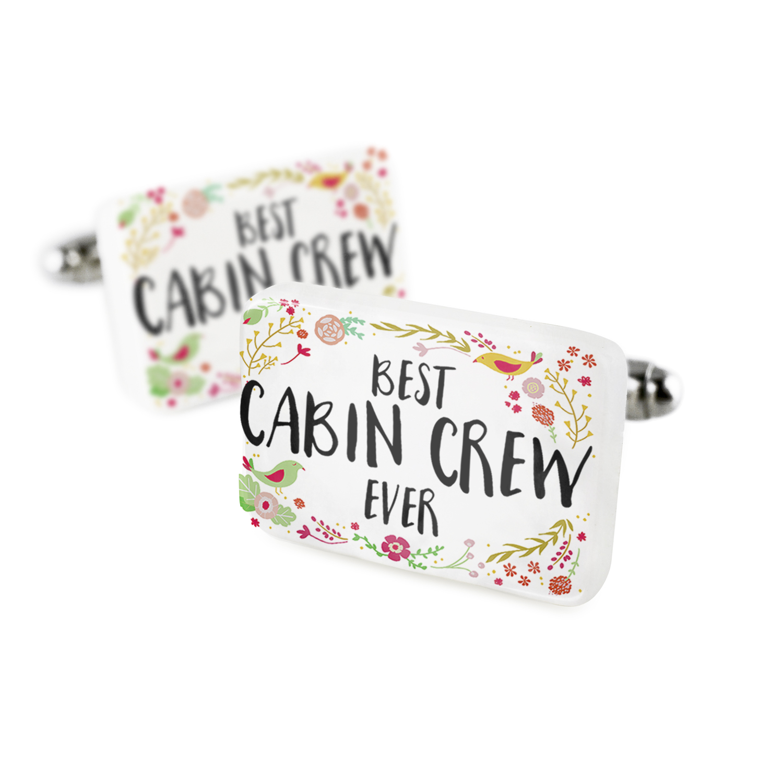 Cufflinks Happy Floral Border Cabin Crew Porcelain Ceramic NEONBLOND
