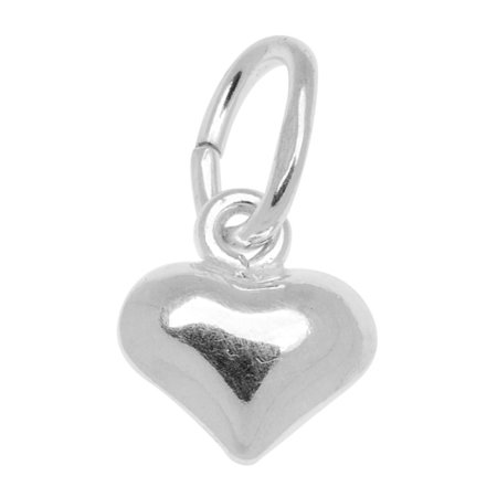 Sterling Silver Charm Sleek Puff Heart - Sterling Silver Heart Charms
