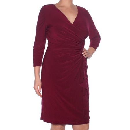 Ruffle Neck Wrap - AMERICAN LIVING Womens Maroon Ruffled Long Sleeve V Neck Above The Knee Wrap Dress Formal Dress  Size: 14