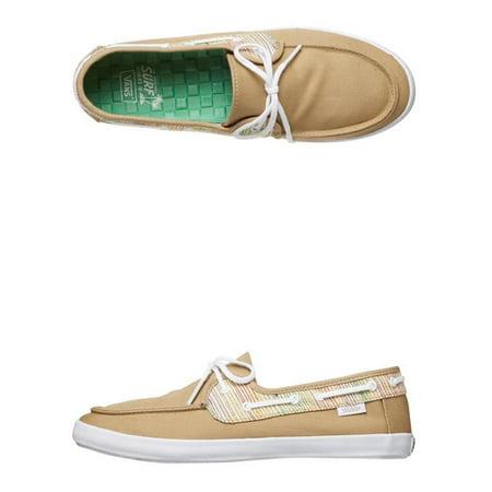 Vans Women's Chauffette Stripes Khaki / White Ankle-High Fabric Fashion Sneaker - 5M - image 1 de 2