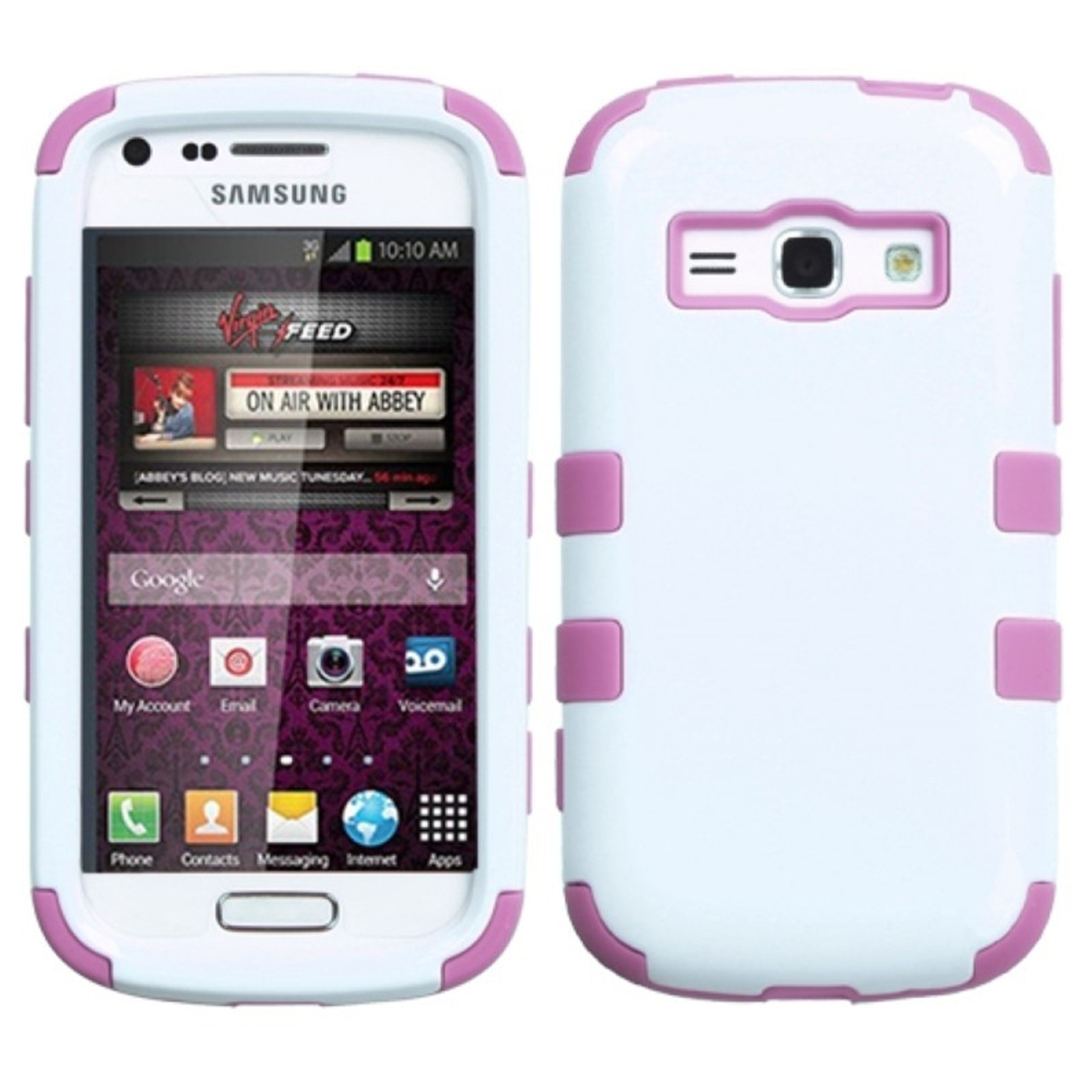 Insten White/Pink Hard Protective Case Hybrid TUFF Protective Case For Samsung Galaxy Prevail 2 Ring M840