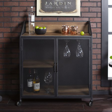 Manor Park Industrial Bar Cabinet With Wheels Reclaimed Farmhouse