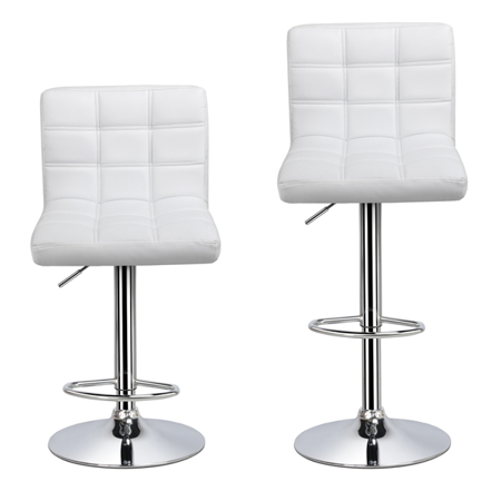 - Topeakmart Set of 2 Adjustable Bar Stools Square Back Counter Swivel Barstools Pub/Office Chair White