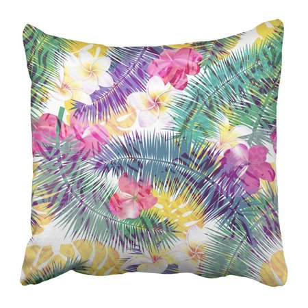ARTJIA Colorful Exotic Beautiful Floral Summer Pattern with Tropical Palm Leaves and Flowers Perfect Pillowcase 16x16 -