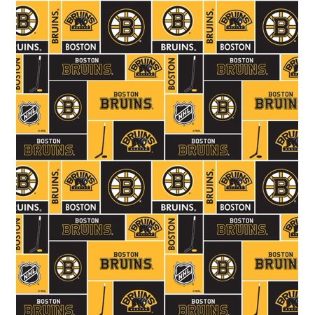 Boston Bruins Super Soft Fleece Fabric Classic Geometric Design-Sold By The (Best Fabric Stores In Boston)