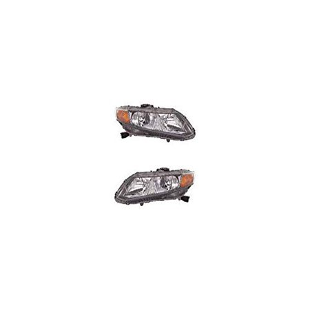 Headlight - Depo Fit/For 16526134, 16526133 12-12 Honda Civic-Coupe/Sedan Both Pair, Left Driver Right Passenger Hand (CAPA-Certified)