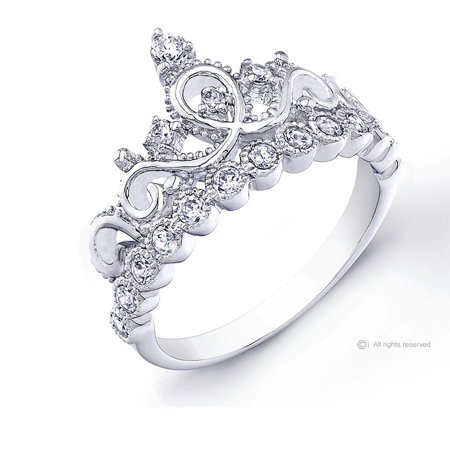 guliette verona rhodium plated sterling silver princess crown ring walmartcom - Crown Wedding Rings